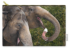 Indian Elephants Eating Snow Carry-all Pouch