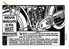 Carry-all Pouch featuring the digital art Indian Power Plus Motocycle Ad 1916 by Daniel Hagerman