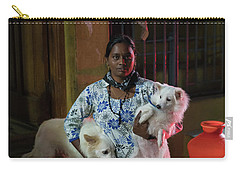 Carry-all Pouch featuring the photograph Indian Woman And Her Dogs by Mike Reid