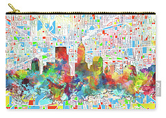 Indianapolis Watercolor Skyline Carry-all Pouch by Bekim Art