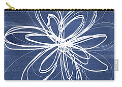 Indigo And White Flower- Art By Linda Woods Carry-all Pouch