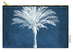 Indigo And White Palm Tree- Art By Linda Woods Carry-all Pouch