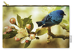 Indigo Bunting And Apple Blossoms Carry-all Pouch