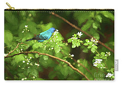 Indigo Bunting And Black Berry Blooms Carry-all Pouch by Darren Fisher