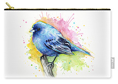 Indigo Bunting Blue Bird Watercolor Carry-all Pouch by Olga Shvartsur