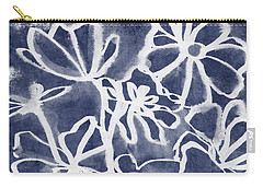 Indigo Floral 3- Art By Linda Woods Carry-all Pouch