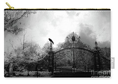 Carry-all Pouch featuring the photograph Infrared Gothic Raven On Gate Black And White Infrared Print - Solitude - Gothic Raven Infrared Art  by Kathy Fornal