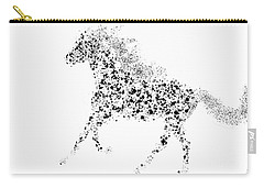 Carry-all Pouch featuring the drawing Ink Splattered Stallion by Nick Gustafson