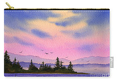 Carry-all Pouch featuring the painting Inland Sea Sunset by James Williamson