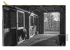 Carry-all Pouch featuring the photograph Inside The Horse Barn Black And White by Edward Fielding