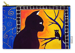 Insomnia - Cat And Owl Art By Dora Hathazi Mendes Carry-all Pouch by Dora Hathazi Mendes