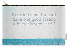 Inspirational Beach Quote Seashore Coastal Women Girlfriends Carry-all Pouch by Rebecca Korpita