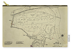 Carry-all Pouch featuring the photograph Inwood Hill Park 1950's Map by Cole Thompson