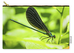 Iridescent Green And Blue Dragonfly Profile Carry-all Pouch