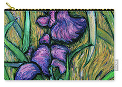 Carry-all Pouch featuring the painting Iris For Vincent - Contemporary Fauvist Post-impressionist Oil Painting Original Art On Canvas by Xueling Zou