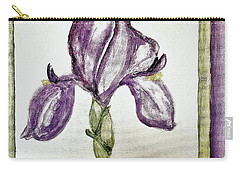 Carry-all Pouch featuring the painting Iris Painted In Purple by Marsha Heiken