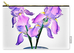 Carry-all Pouch featuring the digital art Iris Still Life In A Vase by Marsha Heiken