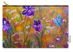 Iris Wildflowers And Butterfly Carry-all Pouch