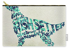 Carry-all Pouch featuring the painting Irish Setter Watercolor Painting / Typographic Art by Ayse and Deniz