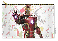 Carry-all Pouch featuring the mixed media Iron Man Splash Super Hero Series by Movie Poster Prints