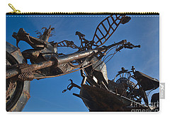 Iron Motorcycle Sculpture In Faro Carry-all Pouch by Angelo DeVal