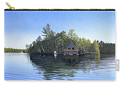 Carry-all Pouch featuring the painting Island Boathouse Muskoka  by Kenneth M Kirsch