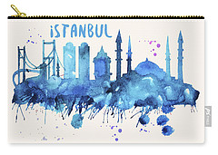 Istanbul Skyline Watercolor Poster - Cityscape Painting Artwork Carry-all Pouch