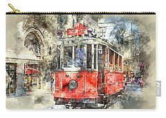 Istanbul Turkey Red Trolley Digital Watercolor On Photograph Carry-all Pouch