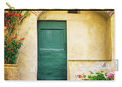 Carry-all Pouch featuring the photograph Italian Facade With Geraniums by Silvia Ganora