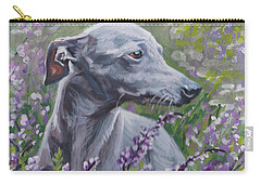 Carry-all Pouch featuring the painting  Italian Greyhound In Flowers by Lee Ann Shepard
