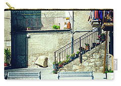 Carry-all Pouch featuring the photograph Italian Square With Benches by Silvia Ganora