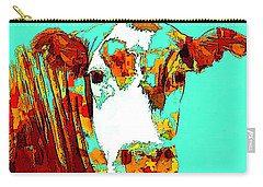 Turquoise Cow Carry-all Pouch