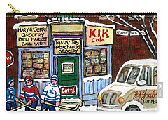 J J Joubert Vintage Milk Truck At Marvin's Grocery Montreal Memories Street Hockey Best Hockey Art Carry-all Pouch