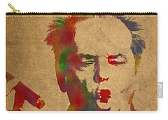 Jack Nicholson Smoking A Cigar Blowing Smoke Ring Watercolor Portrait On Old Canvas Carry-all Pouch by Design Turnpike