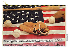 Jackie Robinson Baseball Quote Carry-all Pouch by Dan Sproul