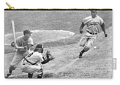 Jackie Robinson Stealing Home Yogi Berra Catcher In 1st Game 1955 World Series Carry-all Pouch