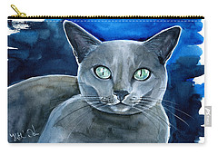 Jackpot - Russian Blue Cat Painting Carry-all Pouch