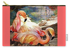 Jacqueline's Flamingos Carry-all Pouch