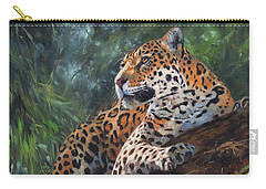 Jaguar In Tree Carry-all Pouch by David Stribbling