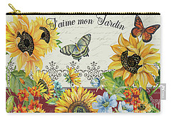 Carry-all Pouch featuring the painting Jaime Mon Jardin-jp3990 by Jean Plout