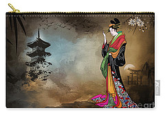 Japanese Girl With A Landscape In The Background. Carry-all Pouch