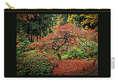 Carry-all Pouch featuring the photograph Japanese Maple At The Japanese Gardens Portland by Thom Zehrfeld