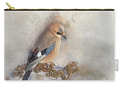 Jay In Falling Snow Carry-all Pouch by Brian Tarr