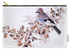 Jay On A Dried Oak Branch Carry-all Pouch