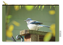 Scrub Jay On A Fence - Images From The Fall Garden Carry-all Pouch