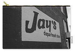 Carry-all Pouch featuring the photograph Jay's Department Store In Bw by Doug Camara