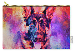 Jazzy German Shepherd Colorful Dog Art By Jai Johnson Carry-all Pouch by Jai Johnson