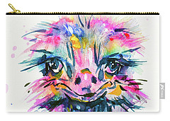 Carry-all Pouch featuring the painting Jazzzy Ostrich by Zaira Dzhaubaeva