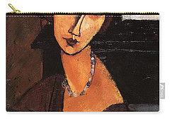 Jeanne Hebuterne With Hat And Necklace Carry-all Pouch