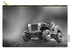 Carry-all Pouch featuring the photograph Jeep Bw by Charuhas Images
